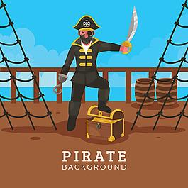 手繪海盜與寶船插圖背景