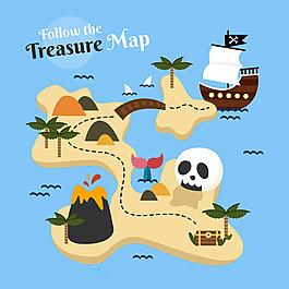 手繪扁平風格海盜寶藏地圖背景