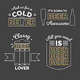 線性風格啤酒貼圖標