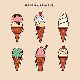 線性風格冰淇淋系列圖標