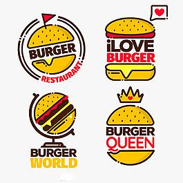 四個黃色漢堡插圖標志