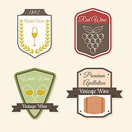 四個葡萄酒標簽圖標