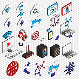 手繪各種電腦圖標插圖矢量素材