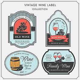 復古風格葡萄酒裝飾標簽圖標