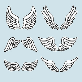 手繪線描風格翅膀矢量素材