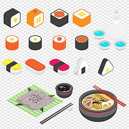手繪三維日本料理圖形插圖