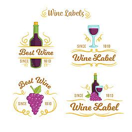紫色細節的葡萄酒標簽圖標