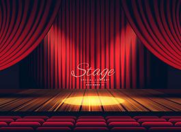 紅色的幕布戲劇舞臺背景
