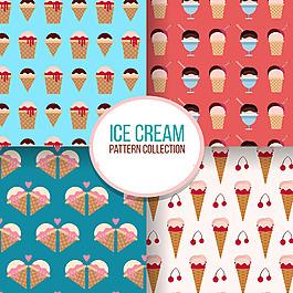 幾種冰淇淋裝飾圖案平面設計素材