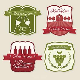 幾個紅色綠色葡萄酒標簽