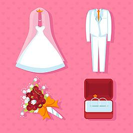 幾個婚禮元素平面設計素材