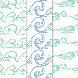 三種手繪波浪紋裝飾圖案