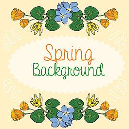 春天裝飾花邊背景設計