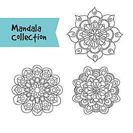 三個手繪曼陀羅花紋矢量素材