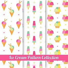 三種柔和顏色的冰淇淋裝飾圖案