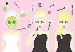 扁平化手繪護理美容女性素材