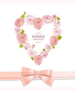 清新粉色心形花紋絲帶背景