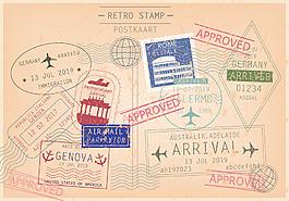 矢量復古懷舊郵票印章