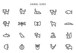 线性手绘动物图标