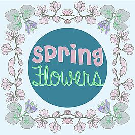 春天鮮花裝飾邊框背景