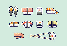 手繪可愛壽司美食