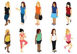 矢量女性女人素材