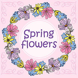 春天花朵裝飾花邊背景