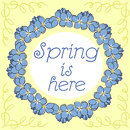 春天藍色花邊黃色背景