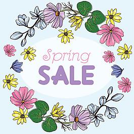 春季促銷彩色花邊背景