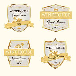 各種金色葡萄酒標簽