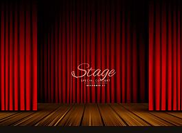紅色幕布木板舞臺背景
