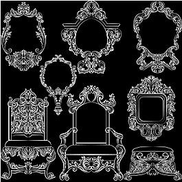 白色復古風格家具系列邊框