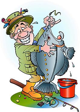 抱著魚的卡通男人圖片