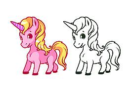 粉色和白色獨角獸圖片