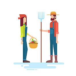 卡通農民夫妻圖片