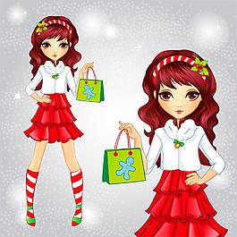 圣誕購物卡通女孩圖片