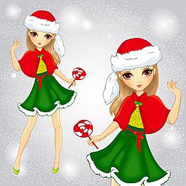 圣誕節卡通女孩圖片