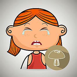 蘑菇和流淚小女孩圖片