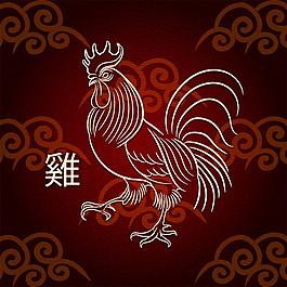 線條大公雞圖片