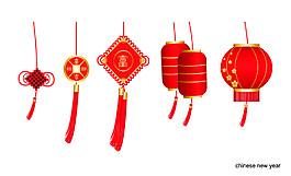 中國結與燈籠圖片