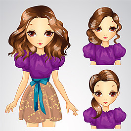 紫裙長發美女圖片
