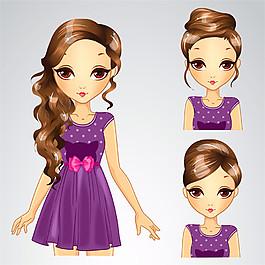 紫裙長發女孩圖片