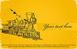手繪火車黃底背景