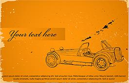 手繪汽車黃底背景