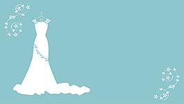 唯美白色婚紗藍底背景