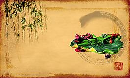 中國風水墨柳葉背景