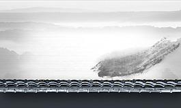 中國風水墨屋檐背景