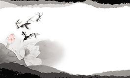 中國風水墨花朵背景