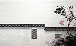 水墨江南園林背景