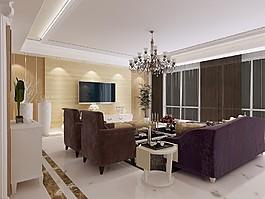 歐式客廳沙發電視墻設計圖